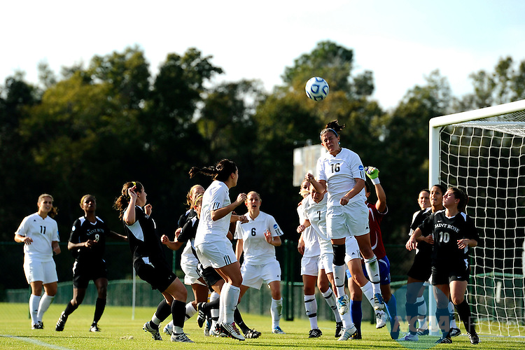 03 DEC 2011: Alyssa Mira (16) of GVSU heads the ball away from her goal during the Division II Women's Soccer Championship held at the Ashton Brosnaham Soccer Complex in Pensacola, FL.  Saint Rose defeated Grand Valley State 2-1 to win the national title.  Stephen Nowland/NCAA Photos