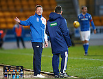 St Johnstone v Kilmarnock...07.11.15  SPFL  McDiarmid Park, Perth<br /> Gary Locke talks with 4th official Colin Steven<br /> Picture by Graeme Hart.<br /> Copyright Perthshire Picture Agency<br /> Tel: 01738 623350  Mobile: 07990 594431