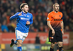 Dundee United v St Johnstone...12.03.14    SPFL<br /> Stevie May celebrates his goal<br /> Picture by Graeme Hart.<br /> Copyright Perthshire Picture Agency<br /> Tel: 01738 623350  Mobile: 07990 594431