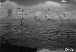 August 8, 1942 - Attack by Japanese torpedo planes in the battle for the Solomon Islands. Shot from the USS Chicago.