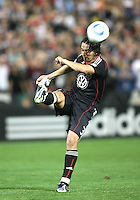 Juan Manuel Pena #3 of D.C. United boots the ball clear during an MLS match against the New England Revolution on April 3 2010, at RFK Stadium in Washington D.C.