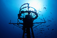 """pk10191-D. the radar tower of the USCG cutter """"Duane"""", a 327-foot long shipwreck and stunning artificial reef in the Florida Keys. Florida, USA, Atlantic Ocean..Photo Copyright © Brandon Cole. All rights reserved worldwide.  www.brandoncole.com..This photo is NOT free. It is NOT in the public domain. This photo is a Copyrighted Work, registered with the US Copyright Office. .Rights to reproduction of photograph granted only upon payment in full of agreed upon licensing fee. Any use of this photo prior to such payment is an infringement of copyright and punishable by fines up to  $150,000 USD...Brandon Cole.MARINE PHOTOGRAPHY.http://www.brandoncole.com.email: brandoncole@msn.com.4917 N. Boeing Rd..Spokane Valley, WA  99206  USA.tel: 509-535-3489"""