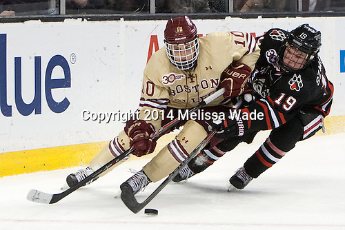 Danny Linell (BC - 10), Mike Szmatula (NU - 19) - The Boston College Eagles defeated the Northeastern University Huskies 4-1 (EN) on Monday, February 10, 2014, in the 2014 Beanpot Championship game at TD Garden in Boston, Massachusetts.