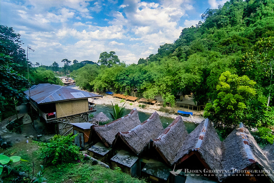 Indonesia, Sumatra. Bukit Lawang. There are no luxurious hotels here, but a large assortment of budget rooms.