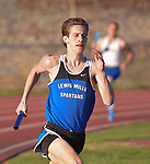WINSTED, CT-041817JS11- ACTION MAN- Lewis Mills' John Mudgett runs his leg in the 4x400M relay during their meet against Gilbert and Litchfield Tuesday at Northwest Regional High School in Winsted. <br /> Jim Shannon Republican-American