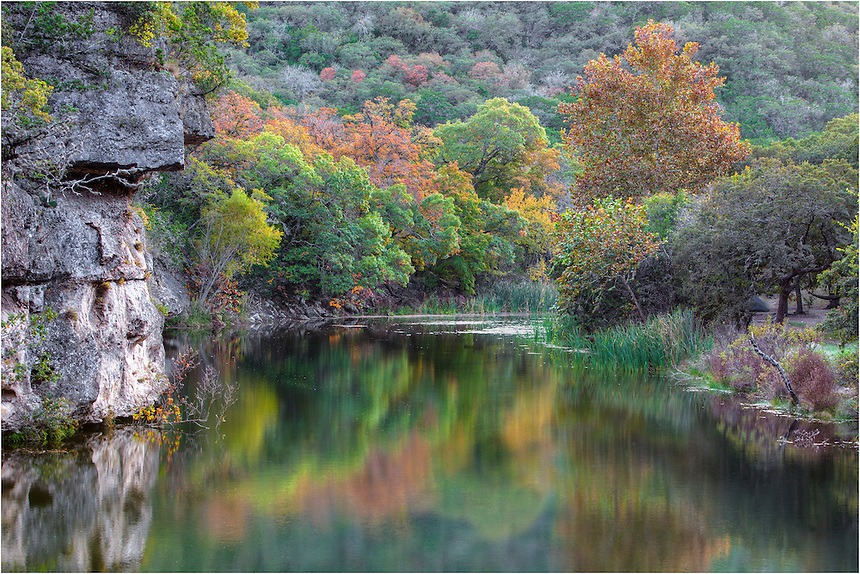 Along the the banks of the Sabinal River deep in the heart of the Texas Hill Country, a lost forest of Maples fill the valleys. Each November, throngs of Texans and tourists flock to this little park - Lost Maples State Park, and enjoy the rich autumn color the Lone Star State offers.