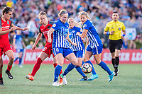 Boston, MA - Friday May 19, 2017: Emily Sonnett and Natasha Dowie during a regular season National Women's Soccer League (NWSL) match between the Boston Breakers and the Portland Thorns FC at Jordan Field.
