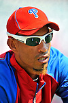 30 May 2011: Philadelphia Phillies infielder Wilson Valdez warms up prior to facing the Washington Nationals at Nationals Park in Washington, District of Columbia. The Phillies defeated the Nationals 5-4 to take the first game of their 3-game series. Mandatory Credit: Ed Wolfstein Photo