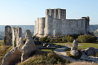 LES ANDELEYS, FRANCE - OCTOBER 10: View of the embossed ramparts, surrounding the inner side of the keep of the Chateau Gaillard, on October 10, 2008 in Les Andelys, Normandy, France. The chateau was built by Richard the Lionheart in 1196, came under French control in 1204 following a siege in 1203. It was later destroyed by Henry IV in 1603 and classified as Monuments Historiques in 1852. (Photo by Manuel Cohen)