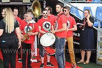 The Barry Horns band enter the stadium where they perform during the homecoming celebrations at the Cardiff City stadium on Friday 8th July 2016 for the Euro 2016 Wales International football squad.<br /> <br /> <br /> Jeff Thomas Photography -  www.jaypics.photoshelter.com - <br /> e-mail swansea1001@hotmail.co.uk -<br /> Mob: 07837 386244 -