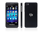 Blackberry Z10 smartphone three views front, back and side. Black phone isolated on white background with clipping path
