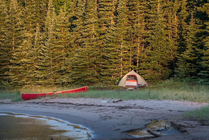 Canoe camping at Warp Bay beach at Lake Superior Provincial Park, Ontario, Canada.