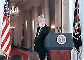 United States President Bill Clinton conducts a formal press conference in the East Room of the White House on July 21, 1999.<br /> Credit: Ron Sachs / CNP