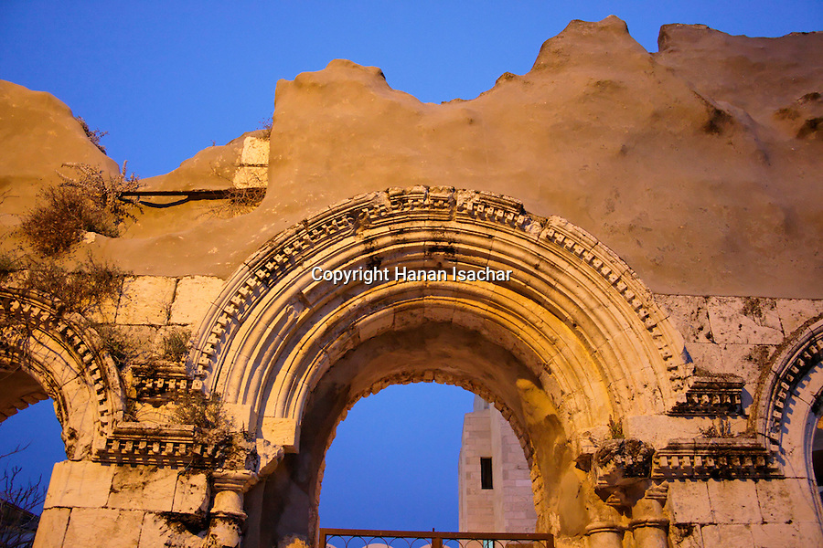 Jerusalem, Israel, The Jewish Quarter at the Old City. The ruined 19th century Tiferet Israel Synagogue<br />