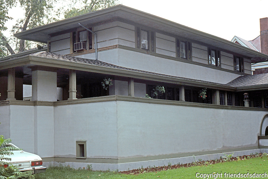 F.L. Wright: Frank W. Thomas House. 210 Forest Ave., Oak Park. 1901. N.W. Elevation.  Photo '77.
