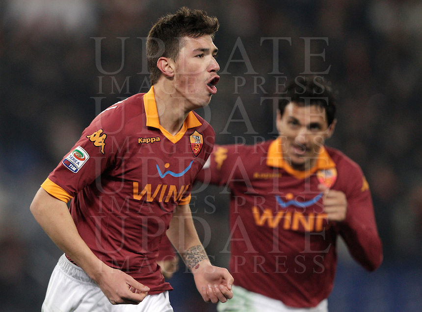Calcio, Serie A: Roma vs Genoa. Roma, stadio Olimpico, 3 marzo 2013..AS Roma defender Alessio Romagnoli, left,celebrates after scoring during the Italian Serie A football match between AS Roma and Genoa at Rome's Olympic stadium, 3 March 2013..UPDATE IMAGES PRESS/Riccardo De Luca