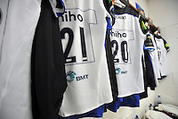 A general view of BMT branding on Bath Rugby jerseys. European Rugby Champions Cup match, between Leinster Rugby and Bath Rugby on January 16, 2016 at the RDS Arena in Dublin, Republic of Ireland. Photo by: Patrick Khachfe / Onside Images