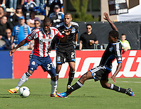 Santa Clara, California - Sunday May 13th, 2012: Jose Erick Correa Chivas USA is defended by Khari Stephenson of San Jose Earthquakes  during a Major League Soccer match at Buck Shaw Stadium