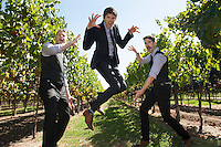 Groom Michael poses for photos with his groomsmen before his  wedding a Saralee vineyard in Windsor, CA.