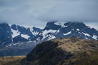 View towards Fredvanghytte from Ytresandheia, Moskenesøy, Lofoten Islands, Norway