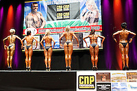 23/10/2010. Irish female physique and figure fitness national championships.  Contestants are pictured onstage during the female physique category as part of the 2010 RIBBF national bodybuilding championships at the University of Limerick Concert Hall, Limerick, Ireland. L-R are Inga Beimore from Dublin, Katarina Cienka  from Dublin, Leona Spellman from Galway, Ligita Kriksciunaite from Dublin, Margaret Mc Grath from Carlow and Laura Newton from Galway. Picture James Horan.