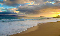 A golden sunset at Big Beach at Makena State Park, Maui.