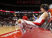 Ohio State's Amedeo Della Valle (33) sits on the bench before a game against against North Florida, Friday, Nov. 29, 2013, in Columbus, Ohio. (Photo by Terry Gilliam)