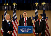 Chicago, Il - December 16, 2008 -- Chicago School Chief Arne Duncan, center, makes remarks after United States President-elect Barack Obama announced his nomination as Secretary of Education at a news conference at Dodge Renaissance Academy on Chicago's West Side on Tuesday, December 16, 2008.  Vice President-elect Joseph Biden stands at left..Credit: Ralf-Finn Hestoft - Pool via CNP