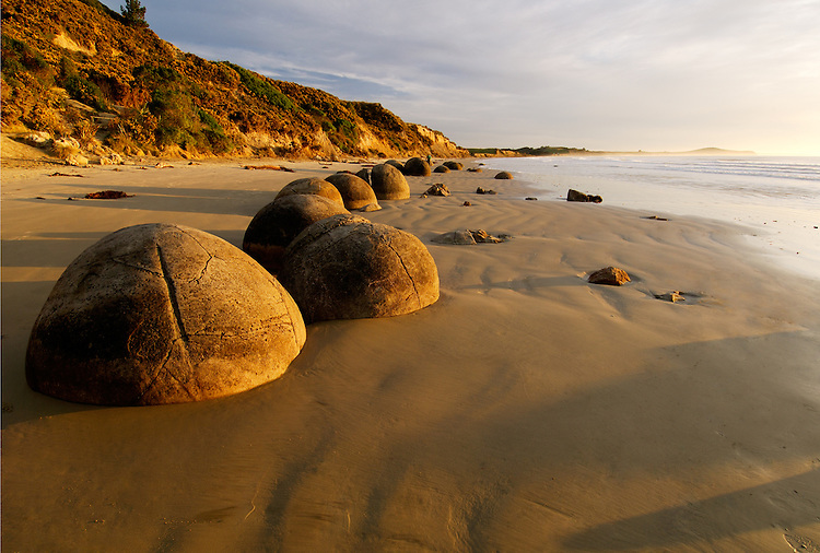 Moeraki Boulders at sunrise, Coastal Otago - stock photo, canvas, fine art print
