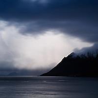 View across fjord from Gimsøy towards Austvågsøya, Lofoten islands, Norway