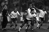 Pix:Michael Steele/SWpix...International Soccer. Poland v England, Poznan, 1991...COPYRIGHT PICTURE>>SIMON WILKINSON..Gary Linekar scores for England.