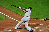 New York Yankees left fielder Andruw Jones (18) swings at a pitch in the sixth inning against the Baltimore Orioles at Oriole Park at Camden Yards in Baltimore, Maryland in the second game of a doubleheader on Sunday, August 28, 2011.  Jones homered on the next pitch.  The Yankees won the game 8 - 3, earning a split in the two games..Credit: Ron Sachs / CNP.(RESTRICTION: NO New York or New Jersey Newspapers or newspapers within a 75 mile radius of New York City)
