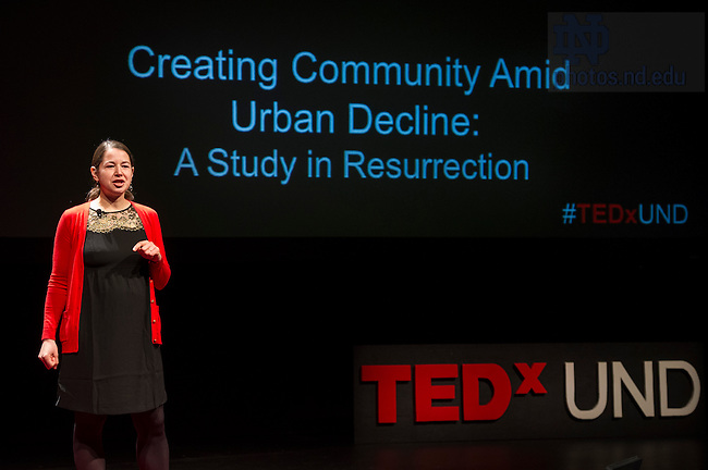 "Jan. 21, 2014; Claire Fyrqvist delivers her talk titled ""Creating Community Amid Urban Decline: A Study in Resurrection,"" during the TEDxUND 2014 event in the Debartolo Performing Arts Center. Photo by Barbara Johnston/University Photographer"