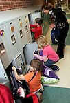 TORRINGTON, CT05 January 2006-010506TK05 First grade teacher Kate Hague at the Torringford School oversees her class using their new lockers for the first time. A portion of the Torringford School has been renovated. The second portion of the school renovation program is scheduled to be completed in the summer.   Tom Kabelka / Republican-American (Kate Hague, Torringford School)CQ