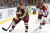 Quinn Smith (BC - 27), Brayden Jaw (Harvard - 10) - The Boston College Eagles defeated the Harvard University Crimson 4-1 in the opening round of the 2013 Beanpot tournament on Monday, February 4, 2013, at TD Garden in Boston, Massachusetts.