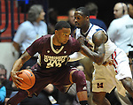 Mississippi State's Arnett Moultrie (23) works against Mississippi's Murphy Holloway (31) at the C.M. &quot;Tad&quot; Smith Coliseum in Oxford, Miss. on Wednesday, January 18, 2012. (AP Photo/Oxford Eagle, Bruce Newman).