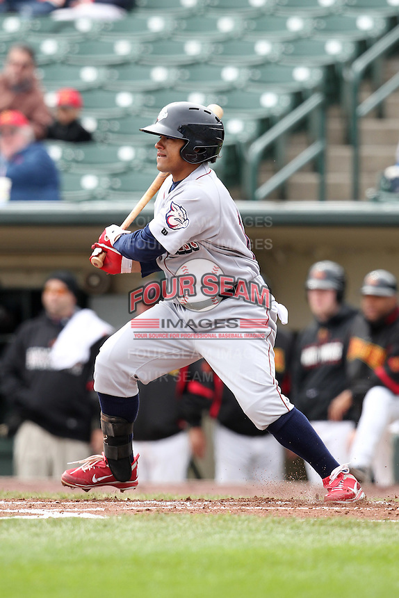 Lehigh Valley Ironpigs designated hitter Delwyn Young #17 at bat during the first game of a double header against the Rochester Red Wings at Frontier Field on April 14, 2011 in Rochester, New York.  Rochester defeated Lehigh Valley with a walk off home run 3-1 in the bottom of the seventh.  Photo By Mike Janes/Four Seam Images