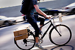 Brandon McGee makes a coffee delivery to SOMA (South of Market), in San Franicsco, Ca., on Monday, April 4, 2011. Bicycle Coffee Company is a San Francisco start-up taking green to a new level, by delivering hand-roasted coffee to over 100 local businesses, in addition to Whole Foods, by bicycle only. .Lianne Milton for The Wall Street Journal.Bay Area - Coffee Status