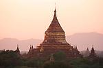 Sunset over temples, Bagan, Burma