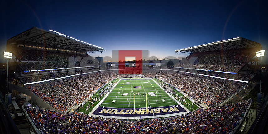 The University of Washington opened its new stadium with a win over Boise State 38-6 on Saturday August 31, 2013. A panoramic photograph of the new Husky Stadium. (Photo by Alec Watson /Red Box Pictures)