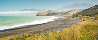 Coastline near Kaikoura with Seaward Kaikouras mountains in background, Marlborough Region, South Island, East Coast, New Zealand