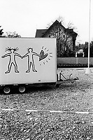 Switzerland. Canton Zurich. Winterthur. A couple and a heart on a delivery truck. Private house. Winterthur is a city in the canton of Zurich in northern Switzerland. 2.12.11  © 2011 Didier Ruef / pixsil...