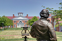 Thomas Jefferson statue at the end of the lawn at the Darden School of Business on North Grounds at the University of Virginia in Charlottesville, Va. Photo/Andrew Shurtleff Photography, LLC