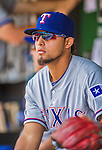 1 June 2014: Texas Rangers second baseman Rougned Odor watches play from the dugout during a game against the Washington Nationals at Nationals Park in Washington, DC. The Rangers shut out the Nationals 2-0 to salvage the third the third game of their 3-game inter-league series. Mandatory Credit: Ed Wolfstein Photo *** RAW (NEF) Image File Available ***