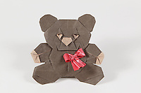 Origami teddy bear designed and folded by Quentin Trollip