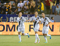 CARSON, CA - August 31, 2013: Los Angeles Galaxy forward Landon Donovan (10) celebrating his goal during the LA Galaxy vs San Jose Earthquakes match at the StubHub Center in Carson, California. Final score, LA Galaxy 3, San Jose Earthquakes  0.