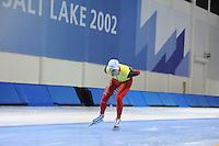 SCHAATSEN: SALT LAKE CITY: Utah Olympic Oval, 12-11-2013, Essent ISU World Cup, training, Wannes van Praet (BEL), ©foto Martin de Jong