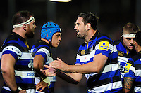 Elliott Stooke of Bath Rugby rallies his fellow forwards. Aviva Premiership match, between Bath Rugby and Sale Sharks on October 7, 2016 at the Recreation Ground in Bath, England. Photo by: Patrick Khachfe / Onside Images