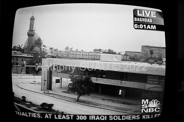 Elizabeth City, North Carolina.USA.March 24, 2003..The primary Baghdad camera angle used by MSNBC during the war.