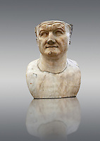 Roman marble sculpture bust of Emperor  Vespasian 80 AD, inv 6068, Museum of Archaeology, Italy